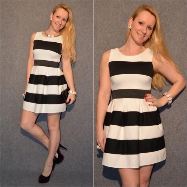 ITALY Kleid gestreift SCHWARZ / WEISS