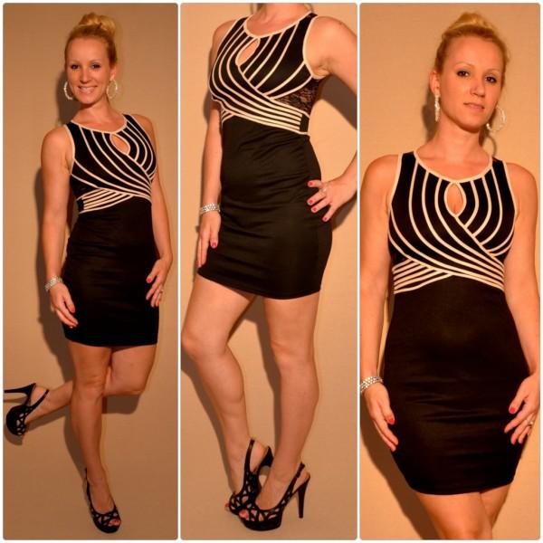 Mini Kleid mit Spitze & außergewöhnlichem Ausschnitt SCHWARZ