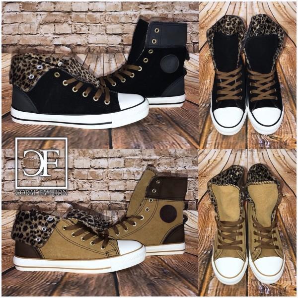 Coole Highcut 2in1 DENIM Sportschuhe / Sneakers mit Futter in LEO Look