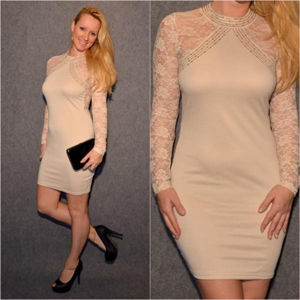 Elegantes Kleid mit Spitze & Strass BEIGE