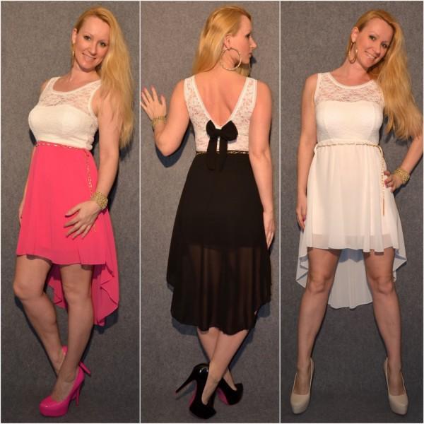 Stylisches VOKUHILA Kleid mit Kettengürtel PINK, WEISS & SCHWARZ