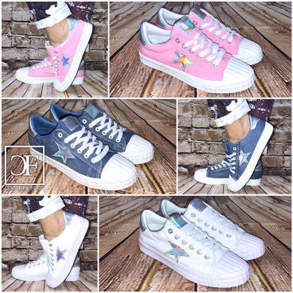 HOLO Rainbow STAR DENIM Lowcut Sportschuhe / Sneakers