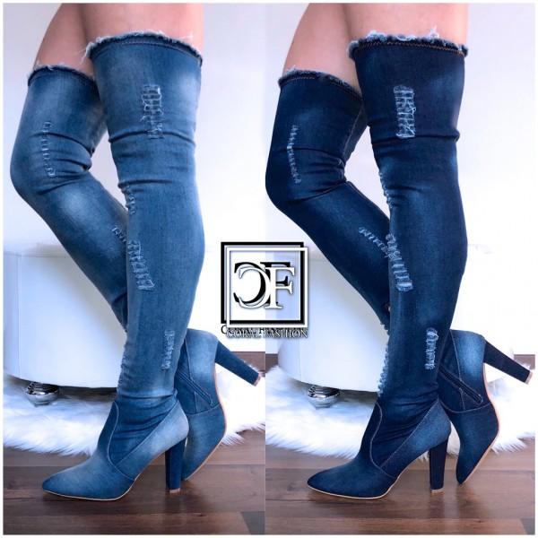 limitierte Anzahl zum halben Preis große Auswahl SEXY Damen Highheels OVERKNEEs Langschaft Stiefel stretch Denim Jeans Optik  mit Blockabsatz