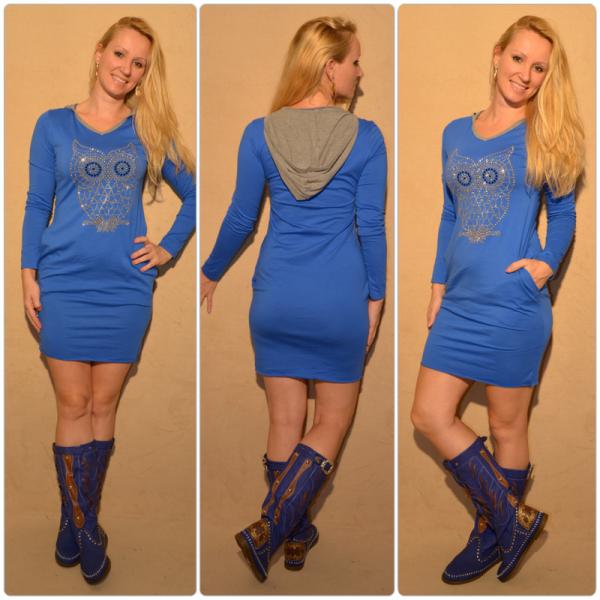 Lässiges Kleid mit Kapuze & Eule aus Strass/Nieten BLAU