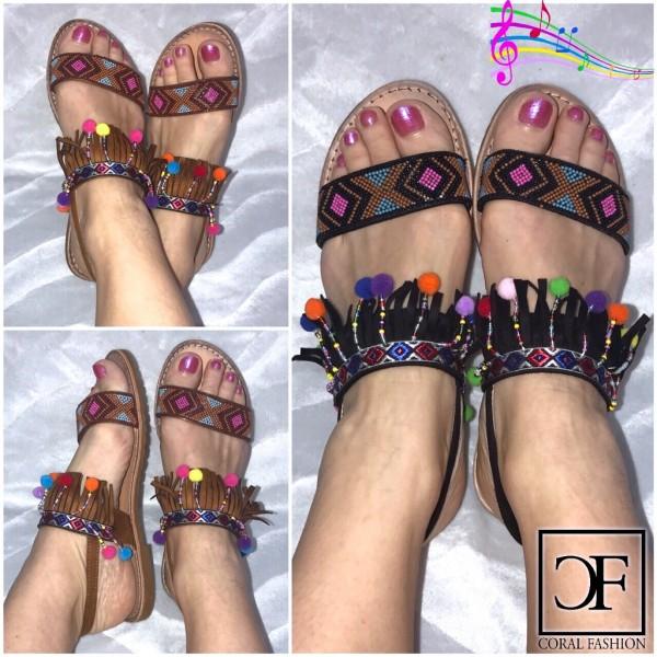 Fashion Hippie PONPON Sandalen / Sandaletten in Boho / Azteken / Indianer Look