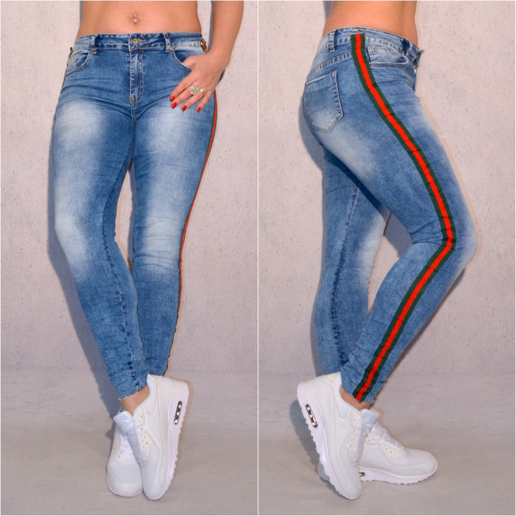 damen jeans hose mit seitlichem streifen coral fashion. Black Bedroom Furniture Sets. Home Design Ideas