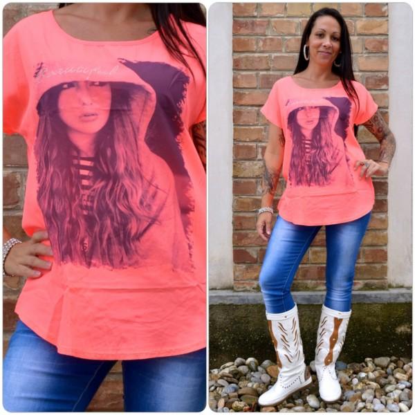 Stylisches Shirt Modell: BEAUTIFUL Kapuzen Lady LACHS