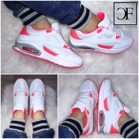 Bequeme Double AIR Sportschuhe / Sneakers WEISS / CORAL