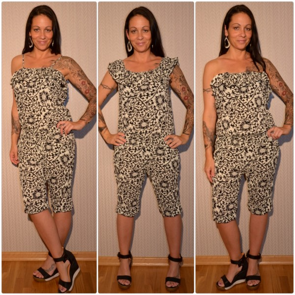 Sommer Jumpsuit / Overall 3 in 1 CREME / SCHWARZ