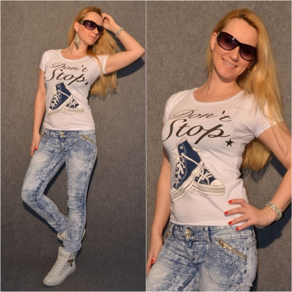 DON´T STOP Sneakers T-Shirt WEISS