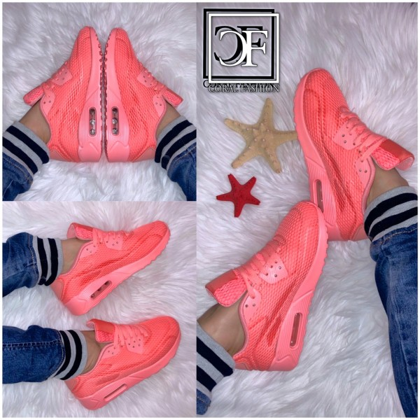Damen Fashion One Color Textil KNITTED TEX LUFT Sportschuhe Sneakers Coral