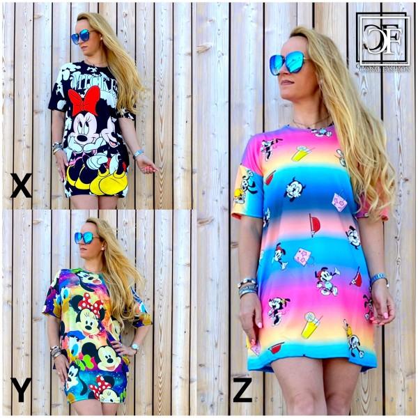 Italy Damen Mickey Kleid Tunika Longshirt / 3 verschiedene Modelle