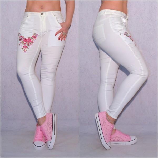 Damen JEANS Look Hose mit Blumen Stickerei WEISS rosa