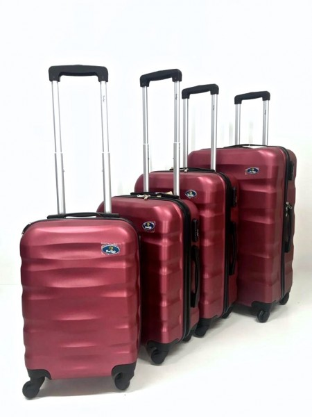 Hartschalen Reisekoffer Koffer Hardcase Trolley mit Zahlenschloss Kofferset 4 Rollen WEINROT