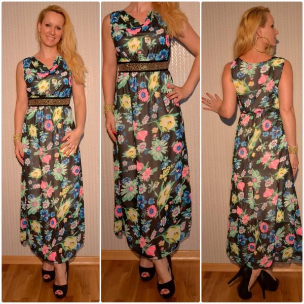 Atemberaubendes langes Blumen-Kleid mit Nietenbund SCHWARZ