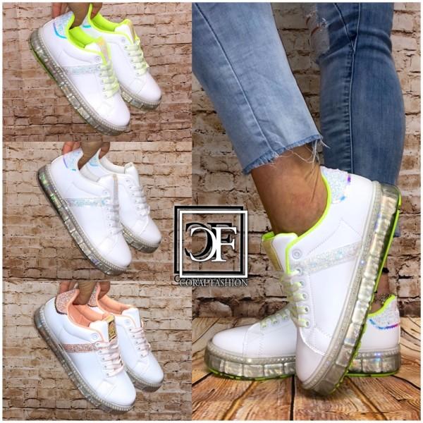Damen LOW CUT Sportschuhe / Sneakers mit GLITZER, STRASS & Holo Jelly Sohle
