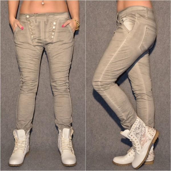 Ausgefallene Harems Jeans mit DOUBLE Knöpfen GRAU