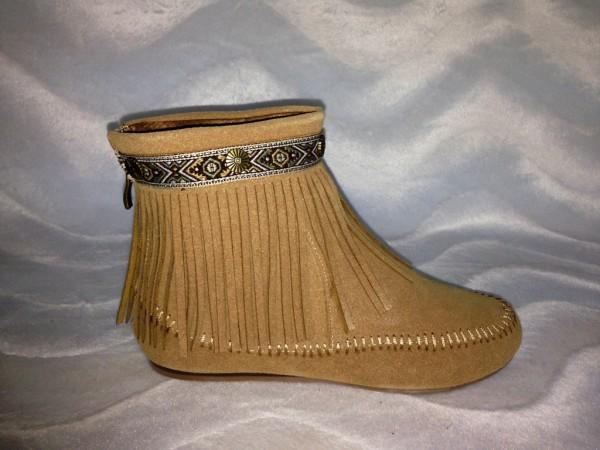 INDIAN Style Fransen Boots / gefüttert APRICOT