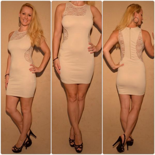 Mini Kleid mit Spitzeneinsätzen BEIGE