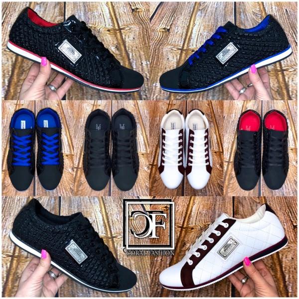 Sportlich Elegante HERREN Schuhe Sneakers Sportschuhe Schnürschuhe mit Emblem BL