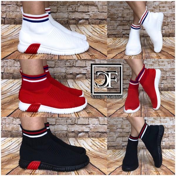 Damen Stripe Stretch Knit Sportstiefel Highcut Socken Sportschuhe Sneakers in Boots Look
