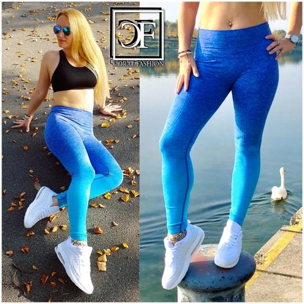 Damen stretch Leggings Fitness Sport Workout Streetwear Hose Blau Ombre Seamless