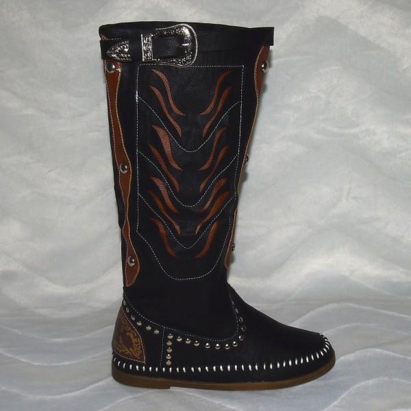 Elegante Langschaft Stiefeln mit Schlangenleder Design CAMEL
