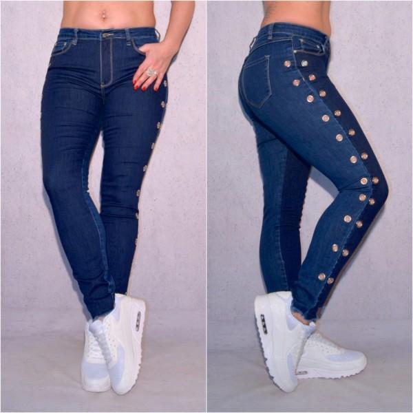 Fashion Damen stretch Denim JEANS Hose mit runden Nieten am Schaft Blau