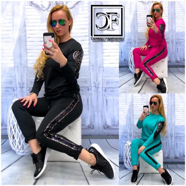 Italy Damen SET Jogginganzug Freizeitanzug mit Pailletten Flügel Hose & Pullover separat bestellbar