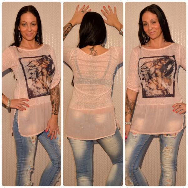 Tunika / Longshirt mit LADY *READ DIFFERENT* Print ROSA