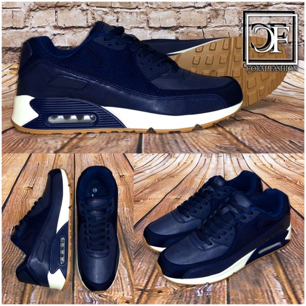 NEW Style Herren LUFT Sportschuhe / Sneakers Denim Jeans Optik BLAU