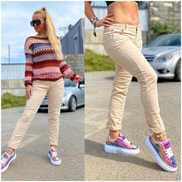 Italy Damen Denim stretch JEANS Hose Knitter Look Beige / Marke PLEASE Fashion