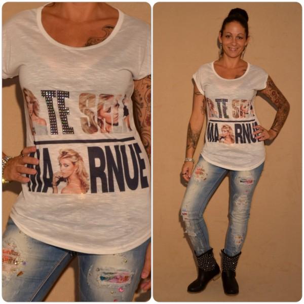 Stylisches Shirt Modell: SCHRIFT & Strass WEISS