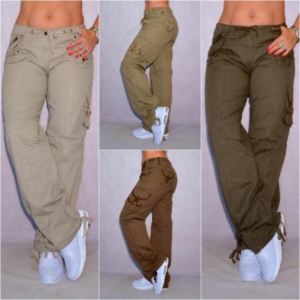 Bequeme Damen Cargohose sportliche Hose mit coolen Seitentaschen (Größen beachten!)
