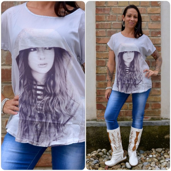 Stylisches Shirt Modell: BEAUTIFUL Kapuzen Lady GRAU