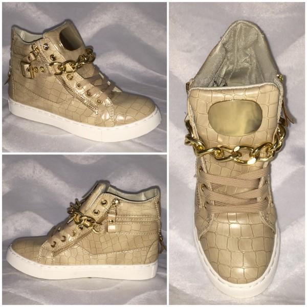 ITALY Style Sneakers mit goldener KETTE - KHAKI