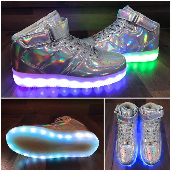 Rainbow *KIDS HIGH Cut LED LIGHT Farbwechsel Sportschuhe / Sneakers / Schuhe SILBER