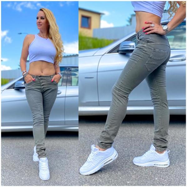 Italy Damen Denim stretch JEANS Hose mit Knöpfen Olivgrün / Marke PLEASE Fashion