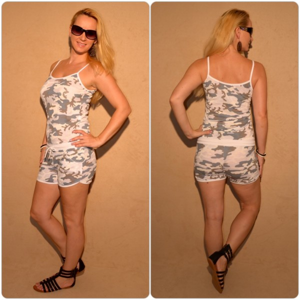 Sommer Jumpsuit mit CAMOUFLAGE print WEISS