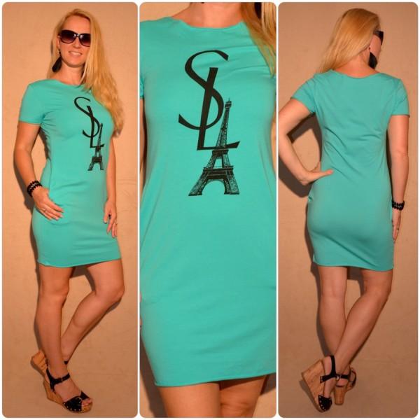 Lässiges Kleid mit SL EIFFELTURM Print GRÜN