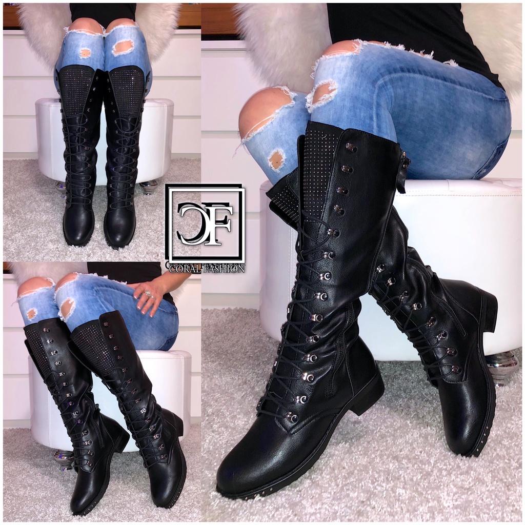 Damen Langschaft Stiefel  Schnüre Nieten  Stiefel  Coral Fashion 5bcfde