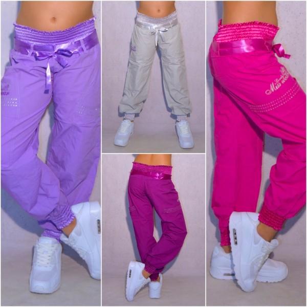 KINDER Mädchen Fashion Color Hose mit Gummibund Strass & Stickerei MISS WEAR