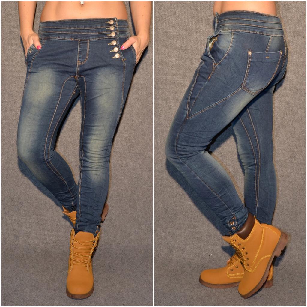 HAREMS stretch JEANS mit seitlichen Knöpfen   Jeans   Damenmode   Mode   Coral  Fashion adb7ec5f89