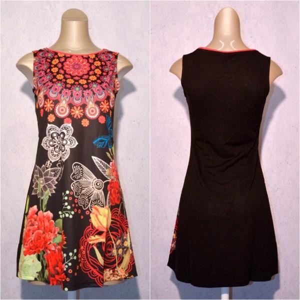 Fashion stretch Kleid / Sommerkleid mit Blumen Muster SCHWARZ / rot