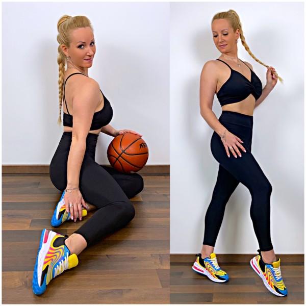 Damen Workout Sport Fitness Outfit Set 2 Teiler Leggings + Cami Top mit Twist vorne Schwarz