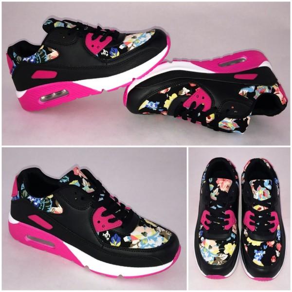 New Style LUFT Sportschuhe / Sneakers mit Blumen SCHWARZ