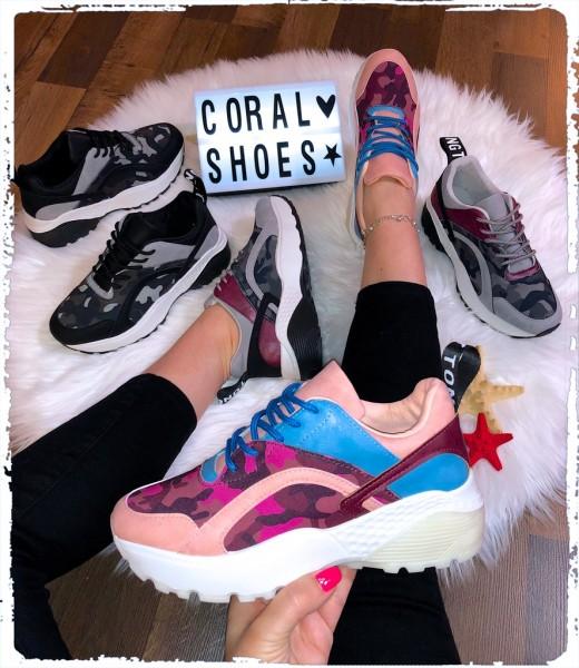 Damen Camouflage Color STRIPE Chunky Sneakers Sportschuhe