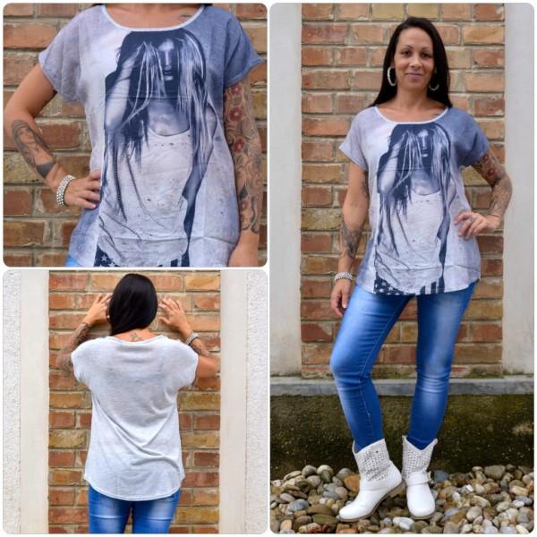 Stylisches Shirt Modell: LADY Haare GRAU