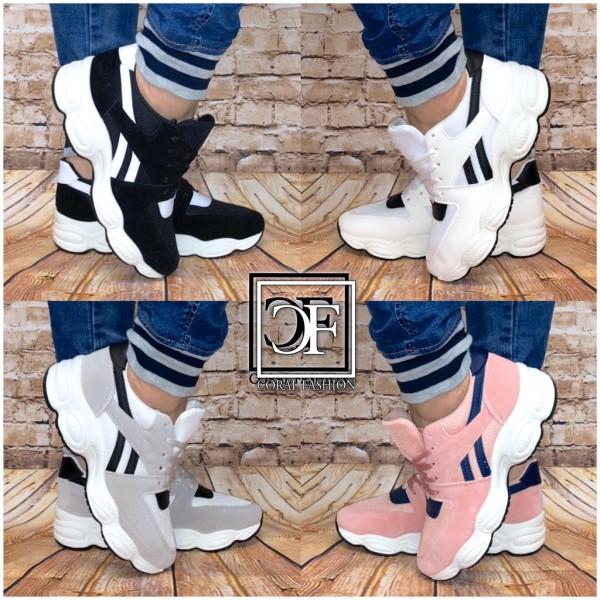 Damen 2 STRIPE Chunky Bubble Sneakers Sportschuhe in Rauleder Optik