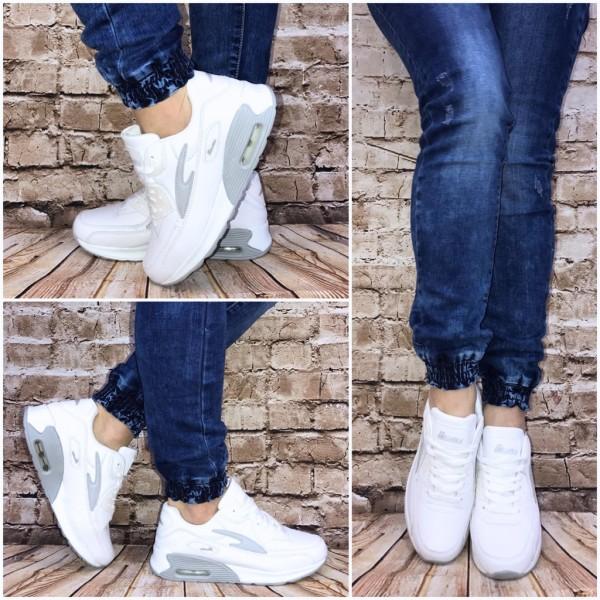 NEW BELLA Style LUFT Sportschuhe Sneakers WEISS grau
